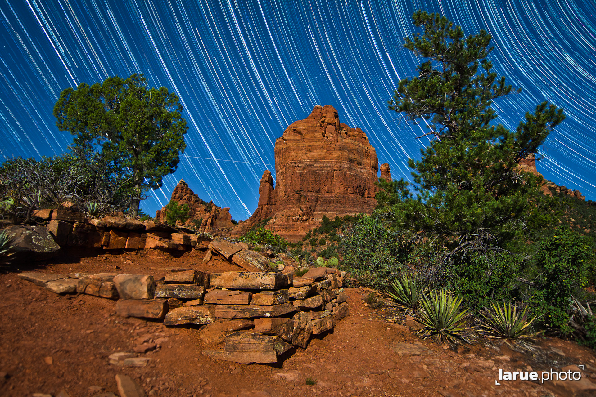 Star Trails Over The Mitten & The Foundation